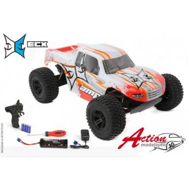 AUTOMODELO ELÉTRICO COMPLETO ECX ESCALA 1/10 AMP 2WD MONSTER TRUCK RTR COR BRANCO E LARANJA ECX03028T1