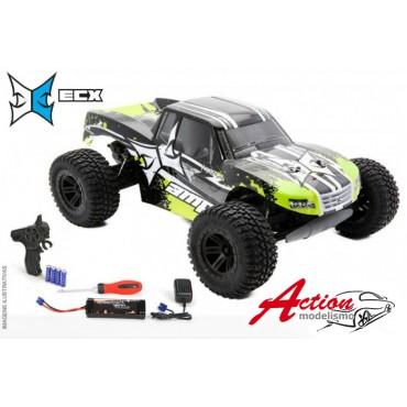 AUTOMODELO ELÉTRICO COMPLETO ECX ESCALA 1/10 AMP 2WD MONSTER TRUCK RTR COR PRETO E VERDE ECX03028T2
