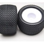 PAR DE RODAS 17MM HEX COM PNEUS PARA TRUGGY 1/8 MONSTER ATV JAMARA HIMOTO HIM 86722
