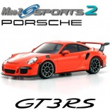 AUTOMODELO KYOSHO MINI-Z MR 03 SPORTS 2 PORSCHE 911 GT3 RS LARANJA ESCALA 1/27 RÁDIO 2.4GHZ KT19 KYO 32231OR-B