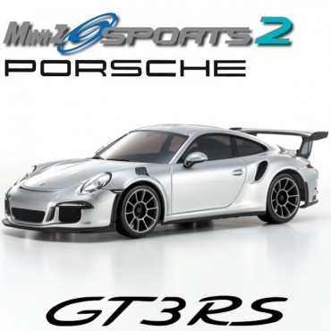AUTOMODELO KYOSHO MINI-Z MR 03 SPORTS 2 PORSCHE 911 GT3 RS PRATA ESCALA 1/27 RÁDIO 2.4GHZ KT19 KYO 32231S-B