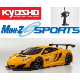 AUTOMODELO KYOSHO MINI-Z MR 03 SPORTS MCLAREN 12C GT3 2013 LARANJA ESCALA 1/27 RÁDIO 2.4GHZ KYO 32217OR-B