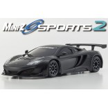 AUTOMODELO KYOSHO MINI-Z MR 03 SPORTS 2 MAC LAREN 12C GT3 MATTE BLACK ESCALA 1/27 RÁDIO 2.4GHZ KT19 KYO 32217GBK-B