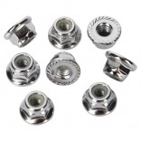 PORCAS DE RODAS M5 NUTS 5MM FLANGED NYLON LOCKING (STEEL SERRATED) 8 PÇS T-MAXX & REVO TRAXXAS TRAX 5147X