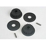 PULLEYS 20 GROOVE MIDDLE 2 FLANGES 2 AXLE PINS 2 PARA NITRO 4-TEC TRAXXAS TRAX 4895