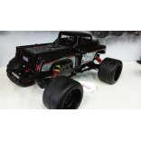 JOGO DE PNEUS SLICK COM RODAS PRETAS ON ROAD PARA MONSTER TRUGGYS KYOSHO MAD FORCE 1/8 SEXTAVADO DE 17mm MAD S138 J