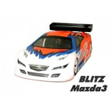 BOLHA BLITZ MAZDA 3 AUTOMODELO 1/10 200MM ON ROAD (TRANSPARENTE) BLITZ RACING BA 60106