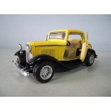 MINIATURA FORD 3 WINDOW COUPE 1932 AMARELO ESCALA 1/34 KINSMART KT5332